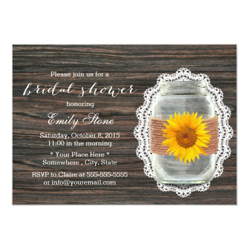 Country Sunflower Mason Jar Wood Bridal Shower 5x7 Paper Invitation Card