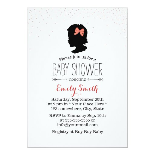 """Simple Baby Girl Silhouette Baby Shower Invitation 5"""" X 7"""" Invitation Card"""
