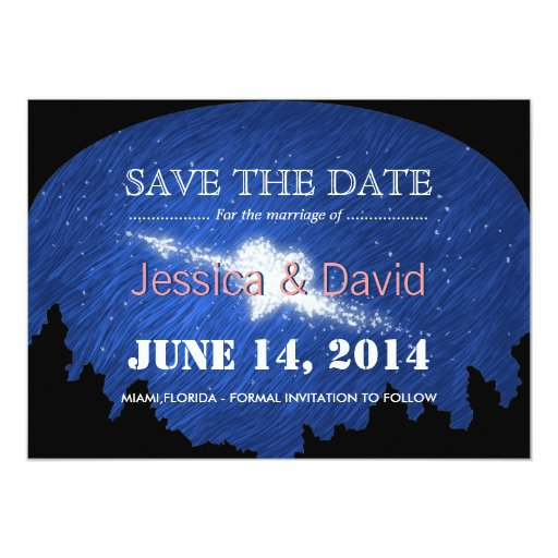 """Beautiful Star Heart Save the Date Announcement 5"""" X 7"""" Invitation Card"""