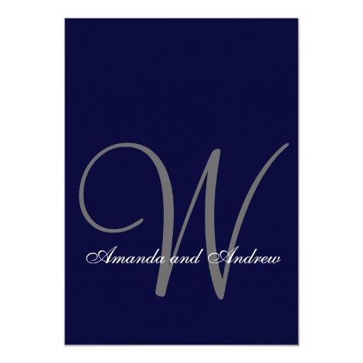 "Elegant Navy Blue White Wedding Invitation Initial 5"" X 7"" Invitation Card"