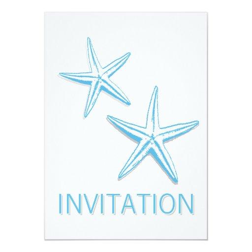 "Simple Blue Starfish Beach Theme Wedding Invites 5"" X 7"" Invitation Card"