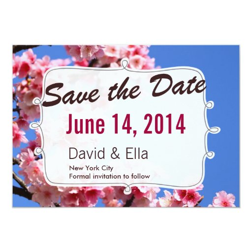 """Spring Romantic Save the Date Announcement 5"""" X 7"""" Invitation Card"""