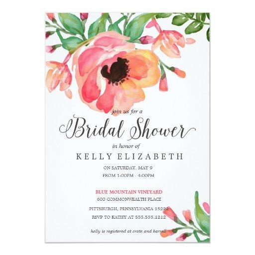 "MODERN WATERCOLOR FLORAL bridal shower invitation 5"" X 7"" Invitation Card"
