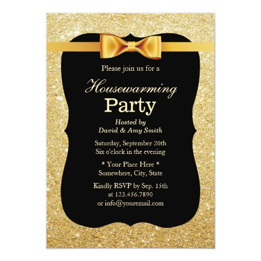 Luxury Gold Glitter Background Housewarming Party 5x7 Paper Invitation Card (front side)