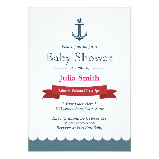 "Nautical Blue Anchor Baby Shower Invitations 5"" X 7"" Invitation Card"