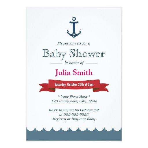 "Nautical Blue Anchor Baby Shower Invitations 5"" X 7"" Invitation Card"