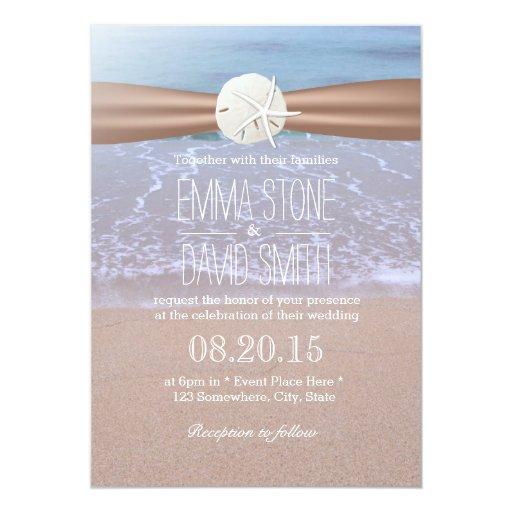 "Classy Sand Dollar & Starfish Wedding Invitations 5"" X 7"" Invitation Ca..."
