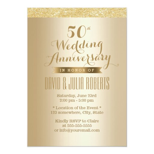Stylish Golden 50th Wedding Anniversary 5x7 Paper Invitation Card (front side)