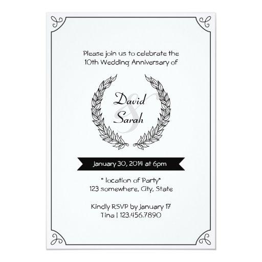 "Black & White Wedding Anniversary Party Invites 5"" X 7"" Invitation Card"