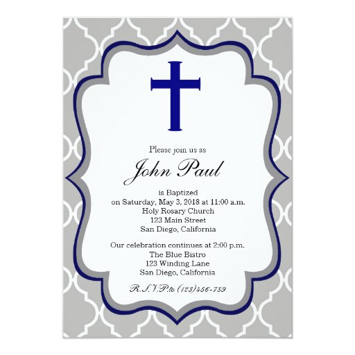 "Modern Baptism Invitation Quatrefoil for Boys 5"" X 7"" Invitation Card"