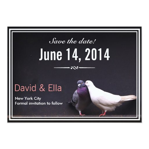 "Classy Love Birds Save the Date Announcement 5"" X 7"" Invitation Card"