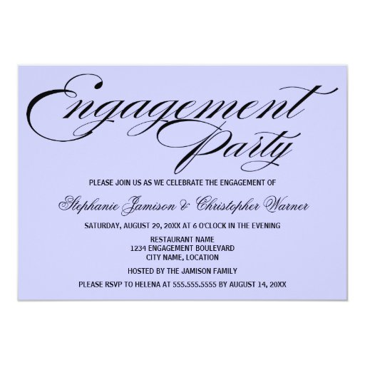 Calligraphy Elegance Lilac Engagement Party 5x7 Paper Invitation Card