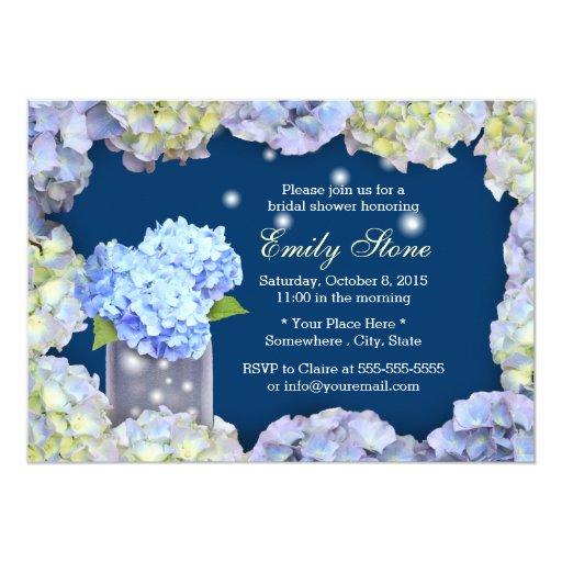 Blue Hydrangea Flowers & Mason Jar Bridal Shower 5x7 Paper Invitation Card