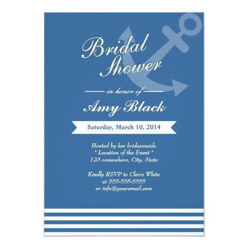 "Nautical Blue Anchor Wedding Bridal Shower Invites 5"" X 7"" Invitation Card"