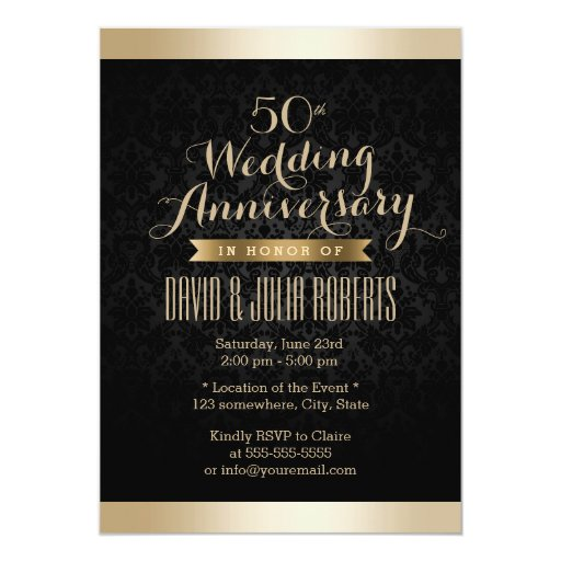 Black & Gold Damask Wedding Anniversary 5x7 Paper Invitation Card
