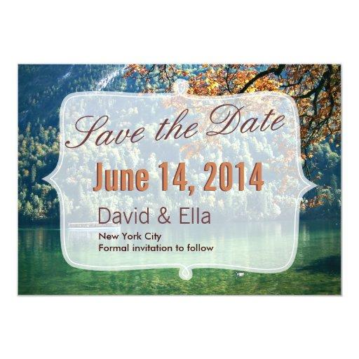 """Autumn Lake Scene Save the Date Announcement 5"""" X 7"""" Invitation Card"""