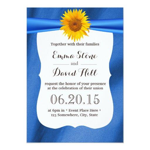 "Yellow Sunflower Blue Fabric Wedding Invitations 5"" X 7"" Invitation Card"