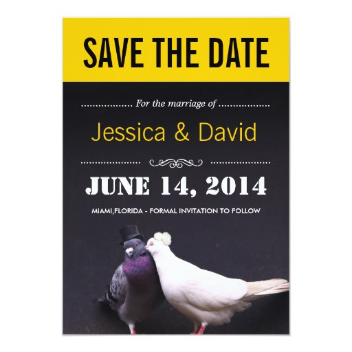 """Stylish Kissing Birds Save the Date Announcement 5"""" X 7"""" Invitation Card"""