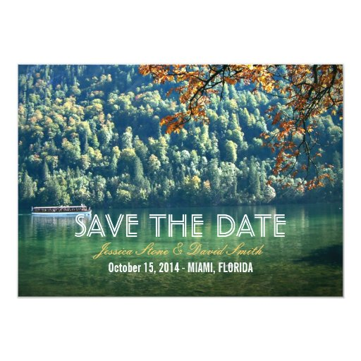 "Mountain Lake Fall Wedding Save the Date Cards 5"" X 7"" Invitation Card"