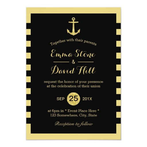 Nautical Gold Anchor Black & Gold Wedding 5x7 Paper Invitation Card (front side)