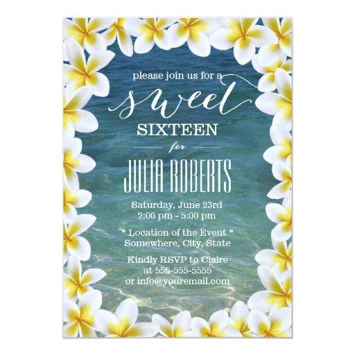 Tropical Plumeria Flowers Beach Sweet 16 5x7 Paper Invitation Card