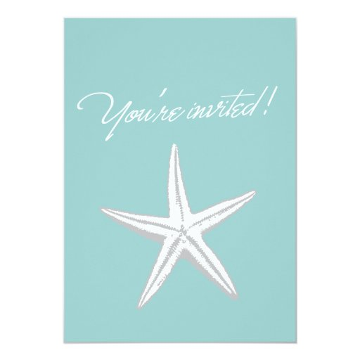 "Mint Green Starfish Engagement Party Invitation 5"" X 7"" Invitation Card"