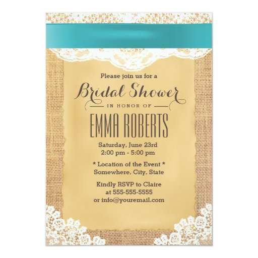 Turquoise Ribbon & Lace Burlap Bridal Shower 5x7 Paper Invitation Card