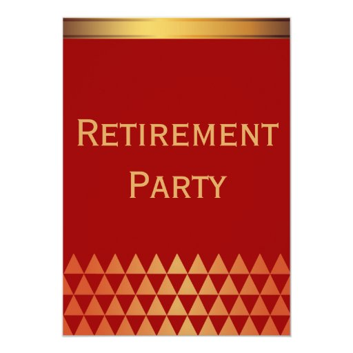 "Luxury Red & Gold Retirement Party Invitation 5"" X 7"" Invitation Card"