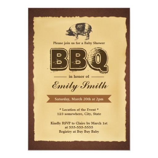 Vintage Baby Shower Pig Roast BBQ Party 5x7 Paper Invitation Card