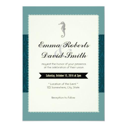 "Classy Sea Horse Teal Damask Wedding Invitations 5"" X 7"" Invitation Card"