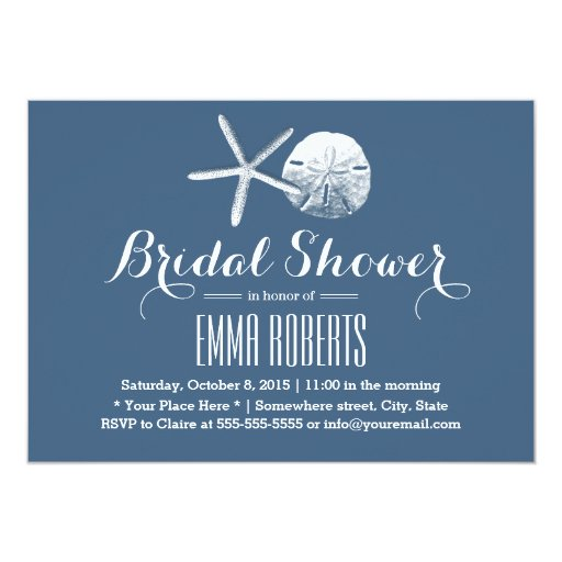 Beach Theme Starfish & Sand Dollar Bridal Shower 5x7 Paper Invitation Card (front side)