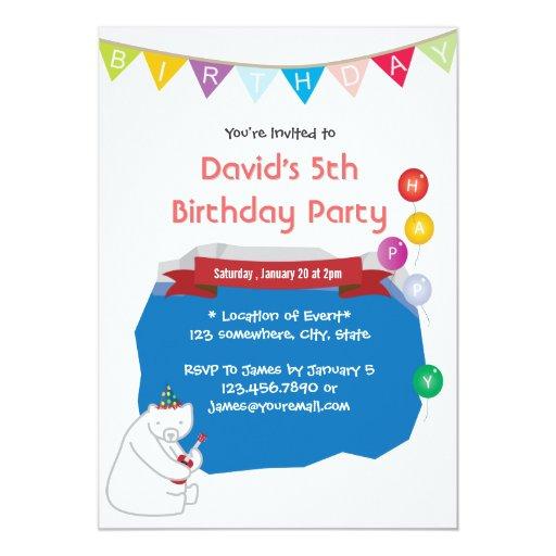 "Happy Uke Polar Bear Ice Pool Birthday Invitations 5"" X 7"" Invitation Card"