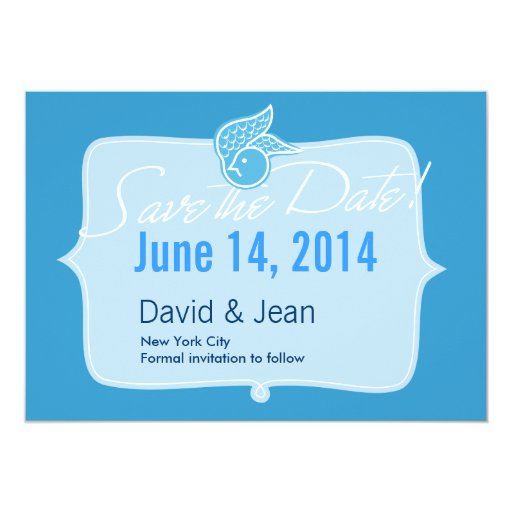 """Bluebird of Happiness Save the Date Announcement 5"""" X 7"""" Invitation Card"""