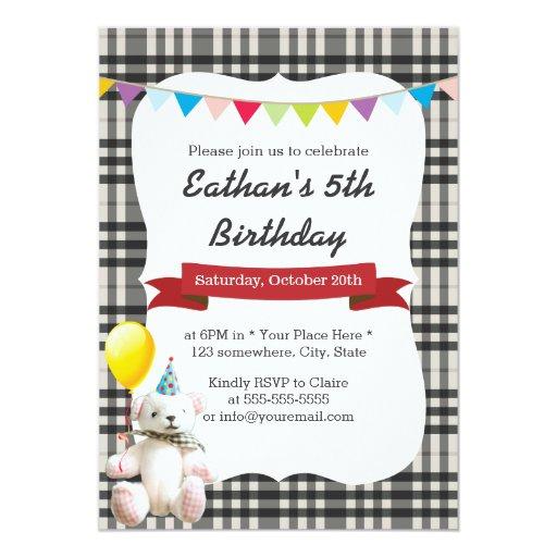 Cute Bear & Balloon Gray Gingham Birthday Party 5x7 Paper Invitation Card