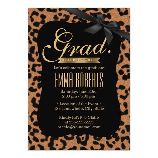 Chic Leopard Print Black Ribbon Graduation 5x7 Paper Invitation Card
