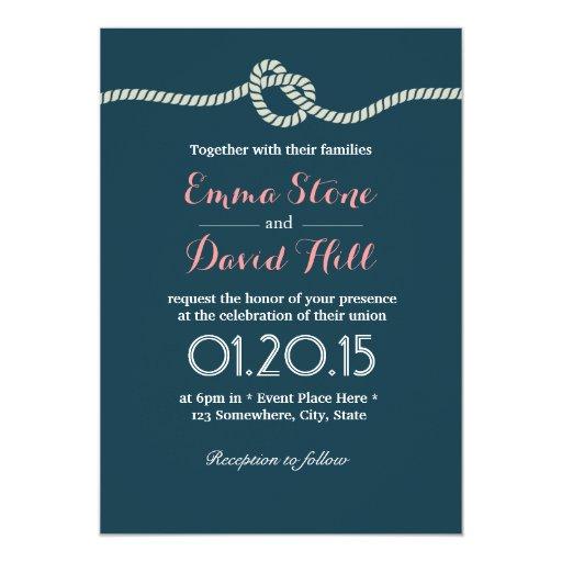 "Navy Blue Tying the Knot Wedding Invitations 5"" X 7"" Invitation Card"