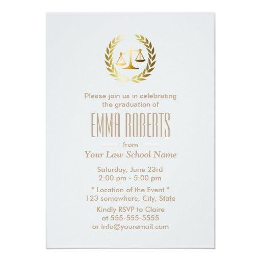 Simple Plain Silver Law School Graduation 5x7 Paper Invitation Card