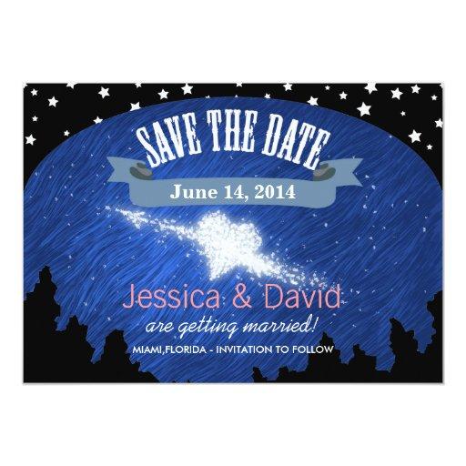 "Stylish Night Sky Stars Save the Date Cards 5"" X 7"" Invitation Card"
