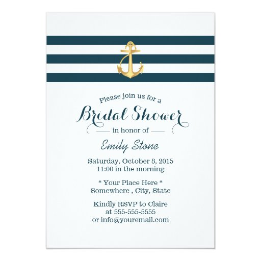 Gold Anchor Nautical Stripes Bridal Shower 5x7 Paper Invitation Card