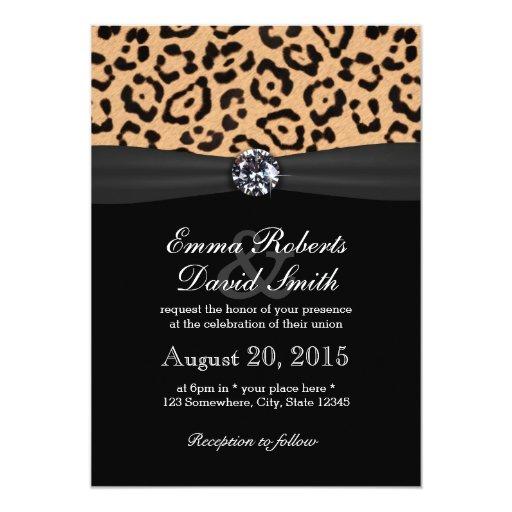Bright Diamond & Leopard Print Wedding 5x7 Paper Invitation Card