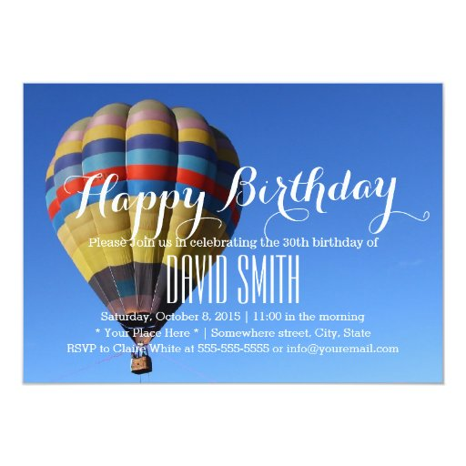 Blue Sky Hot Air Balloon Birthday Party 5x7 Paper Invitation Card