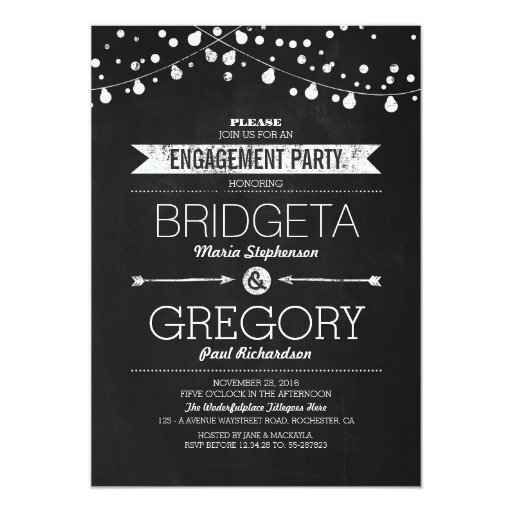 Modern Chalkboard String Lights Engagement Party 5x7 Paper Invitation Card