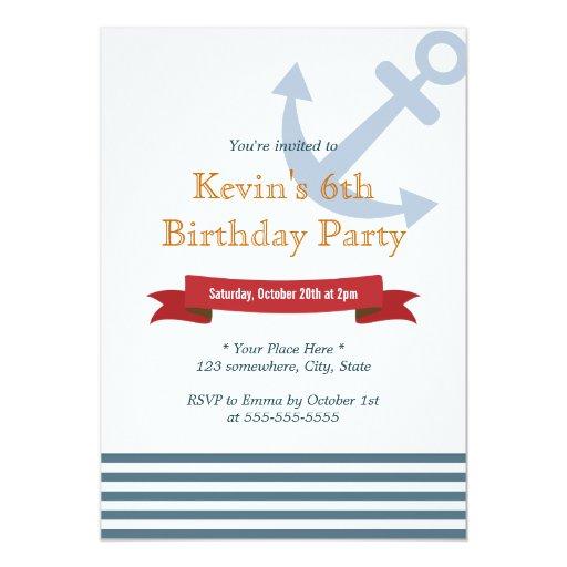 "Nautical Anchor Blue Stripes Birthday Invitations 5"" X 7"" Invitation Card"