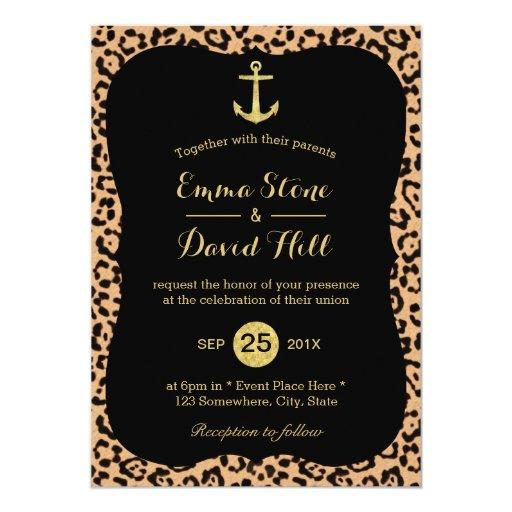 Modern Gold Anchor Leopard Print Wedding 5x7 Paper Invitation Card