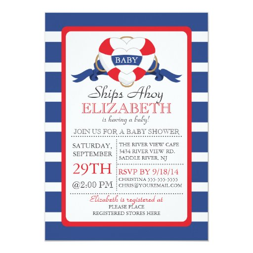 Modern Nautical Heart Buoy NEUTRAL Baby Shower 5x7 Paper Invitation Card