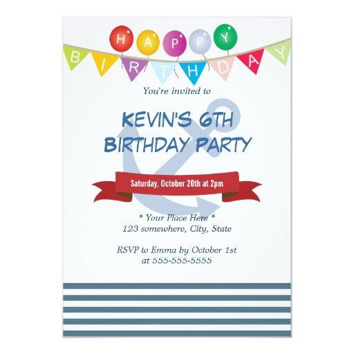 "Happy Nautical Blue Stripes Birthday Invitations 5"" X 7"" Invitation Card"