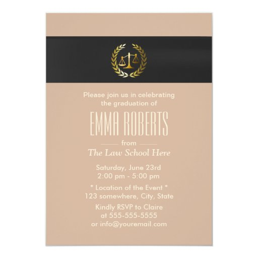 Plain Gold Justice Scale Law School Graduation 5x7 Paper Invitation Card
