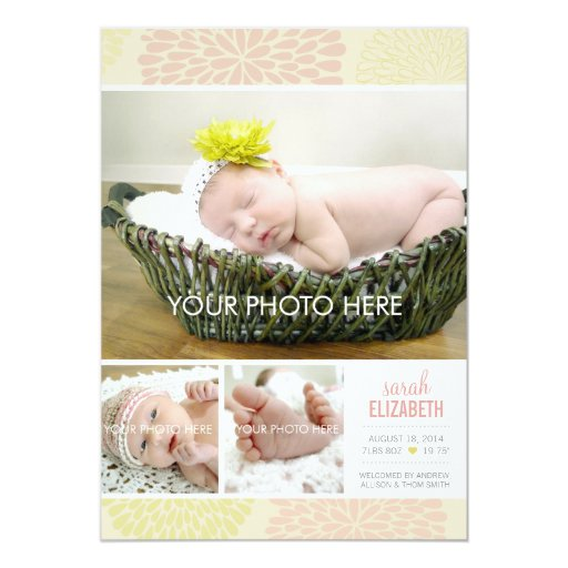 "Elegant Baby Girl Photo Birth Announcement Flowers 5"" X 7"" Invitation Card"
