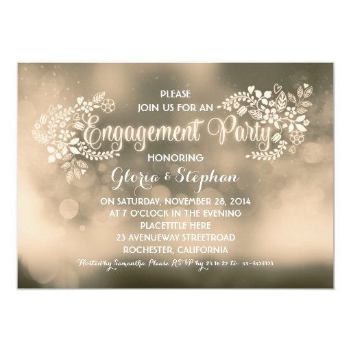 Modern vanilla brown floral engagement party 5x7 paper invitation card