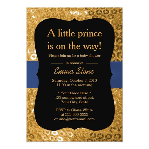 Royal Blue Ribbon Black & Gold Baby Shower 5x7 Paper Invitation Card